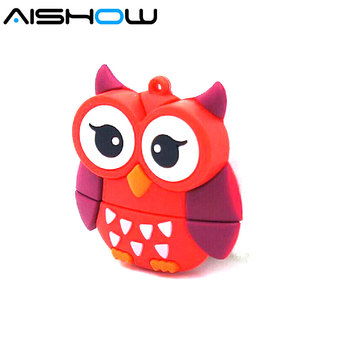 Big eyes Red Owl USB Flash Drive 64gb USB 2.0 USB Stick Pendrive U disk Flash Memory Storage Pen Drive 32gb 16gb 8gb 4gb