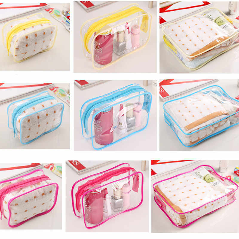 New Transparent Cosmetic Travel Bag Women Makeup Organizer PVC Washing Bags Zipper Pouch LT88