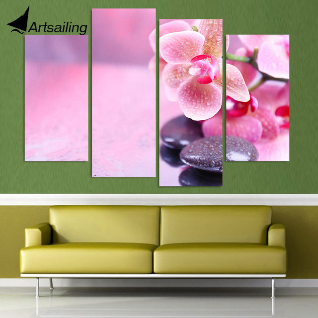 4 Panel Canvas Painting Canvas Art Pink Orchid Stone Drops HD ...