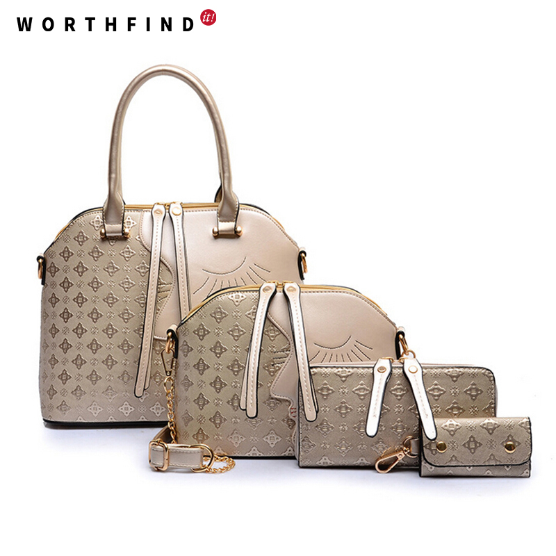 ФОТО WORTHFIND 4 Pcs/Set Women Bags Crocodile Leather Purses And Handbags High Quality Shoulder Bag Ladies Crossbody Bag Female
