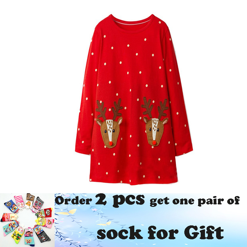 все цены на Jumping meters 18M-6T Children girls dresses applique deer kids dress long sleeve polka dot red dress gift Christmas dress girl
