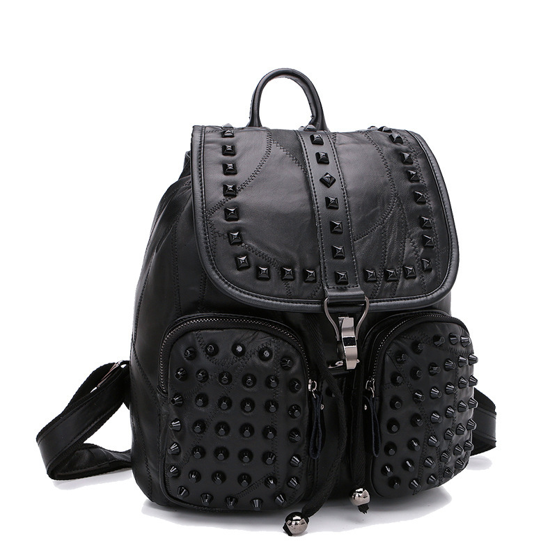 Women Giril Sheepskin Leather Backpack SchoolBag New Fashion Street Travel  Bag Urban Good Quality Small Teens Black Luxury-in Backpacks from Luggage    Bags ... cd25f5d65f70