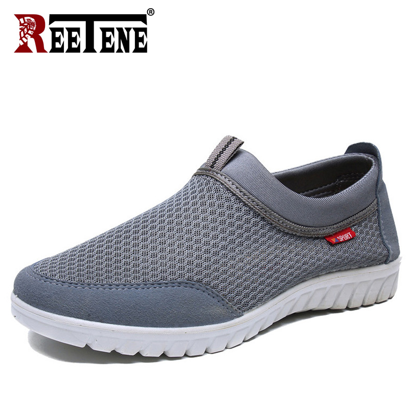 REETENE 2019 Fashion Summer Men Loafers Slip-On Summer Breathable Mesh Men'S Sneakers Men Casual Shoes Trainers Sneaker Loafers