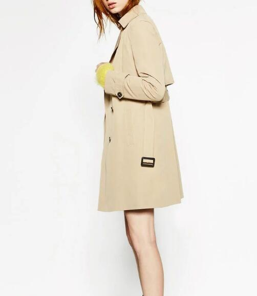 Fall 2017 Trends Women's Camel Colored Short Trench Coats Double-breasted with Belt & Side Pockets LAPEL COLLAR