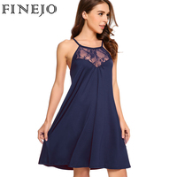 FINEJO White Lace Dresses Women Sexy Summer Sleeveless Lace Patchwork Dresses Evening Party Halter Tank Swing