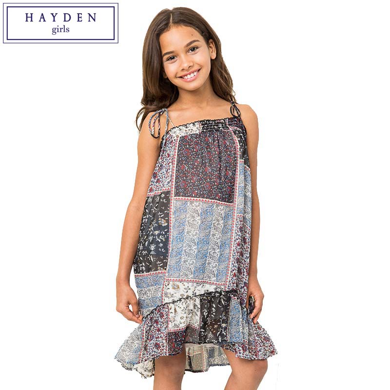 Hayden Teen Girls Strap Chiffon Dress Hot Summer Dress Girl Kids 2017 Beach Wear -9114