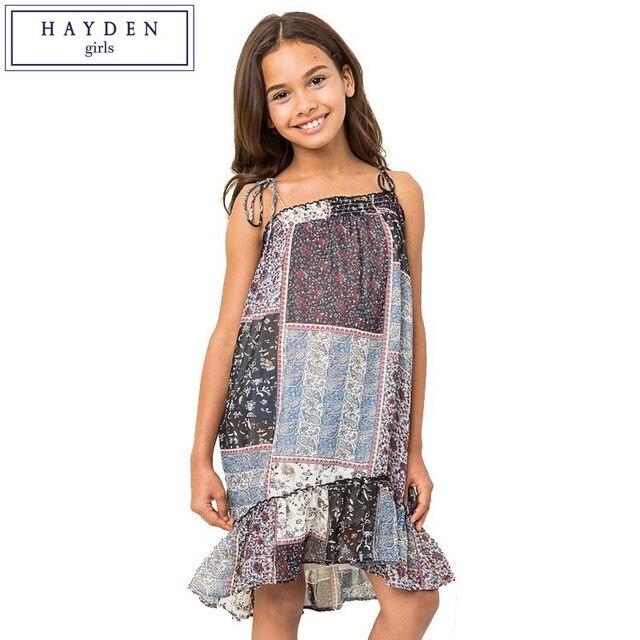 Hayden Teen Girls Strap Chiffon Dress Hot Summer Dress Girl Kids  Beach Wear Bohemian Print