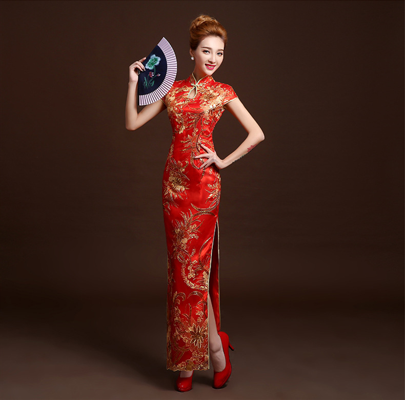 Red Cheongsam Dress Long Mermaid Qipao Dresses Phoenix