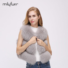 Фотография Milyfuer Short Real Fox Fur Vest Women Casual Natural Fox Fur Vests Thick Autumn Winter Warm Slim V-Neck Solid 6 Colors Fur Vest