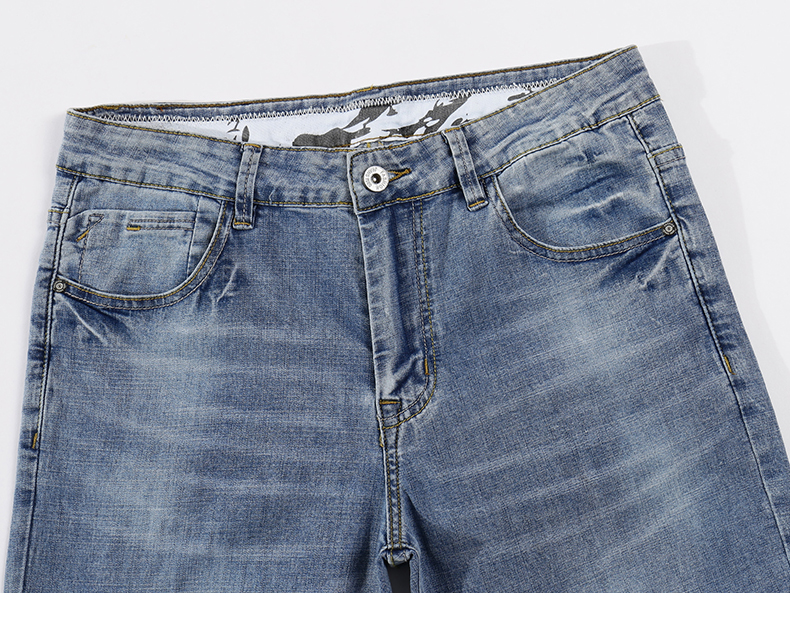 2020 Jeans Men Fashion Business Casual Straight Slim Fit Ultrathin Breathable Stretch Retro Blue Summer Denim Pants Plus Size 40 13