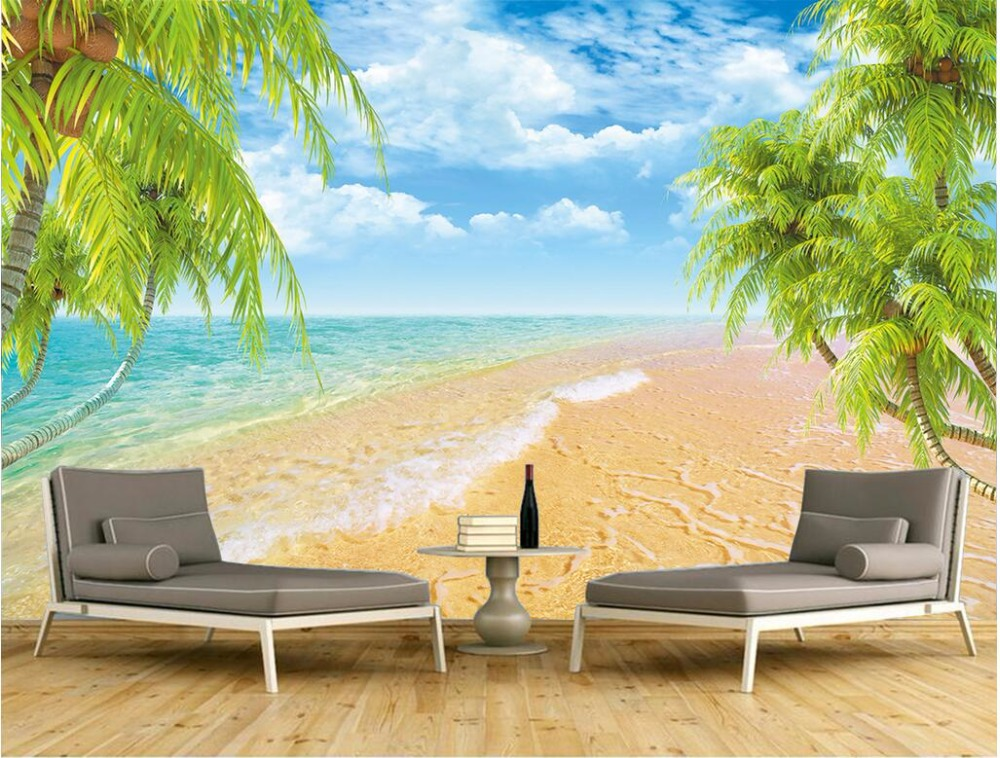 3d wallpaper custom mural photo The seaside beach palms view picture room painting 3d wall murals wall paper for walls 3 d