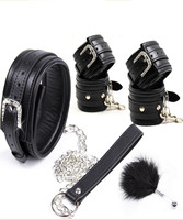 Bondage Slave Restraints Flirting Feather Leather Collar Hand Wrist Ankle Cuffs In Adult Games ,Fetish Erotic Sex Toys For Women