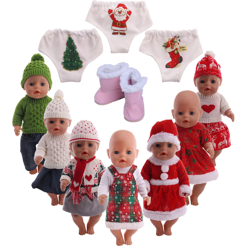 Doll clothes accessories winter set+Panties+boots fit 43cm baby doll or 18 inch American doll for children best Christmas gift image