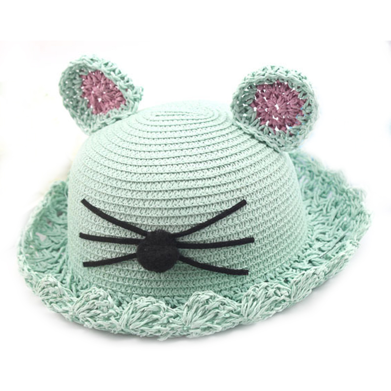 Cartoon Girls Hat Panama Kids Summer Straw Hat With Cat Ears - Babykläder