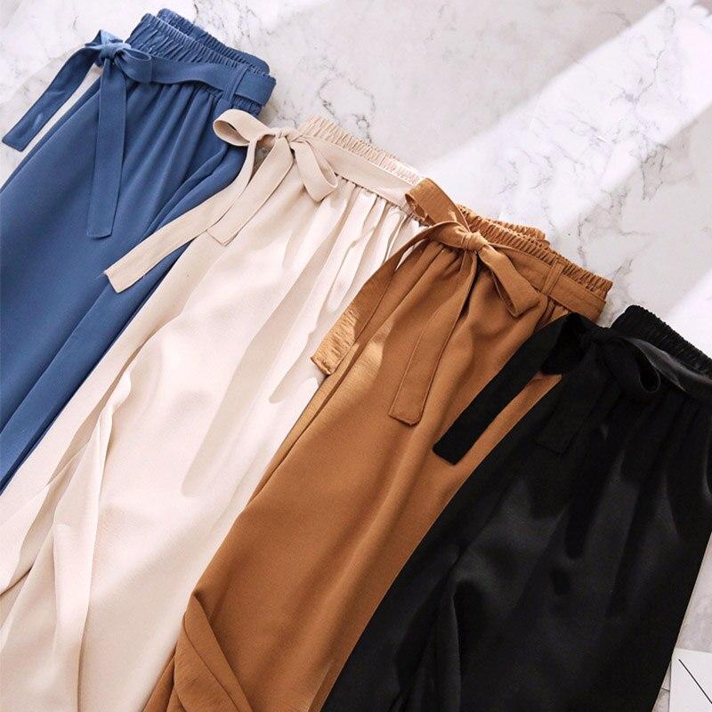New Summer Autumn Fashion Ice Slik   Wide     Leg     Pants   Women Bow Sashes High Waist Trousers Holiday Thin Beach Chiffon Leggings Mw431