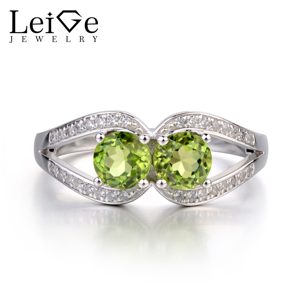 Leige Jewelry Round Cut Peridot Ring Double Stone Ring Wedding Engagement Rings for Women Sterling Silver 925 Jewelry Green Leige Jewelry Round Cut Peridot Ring Double Stone Ring Wedding Engagement Rings for Women Sterling Silver 925 Jewelry Green