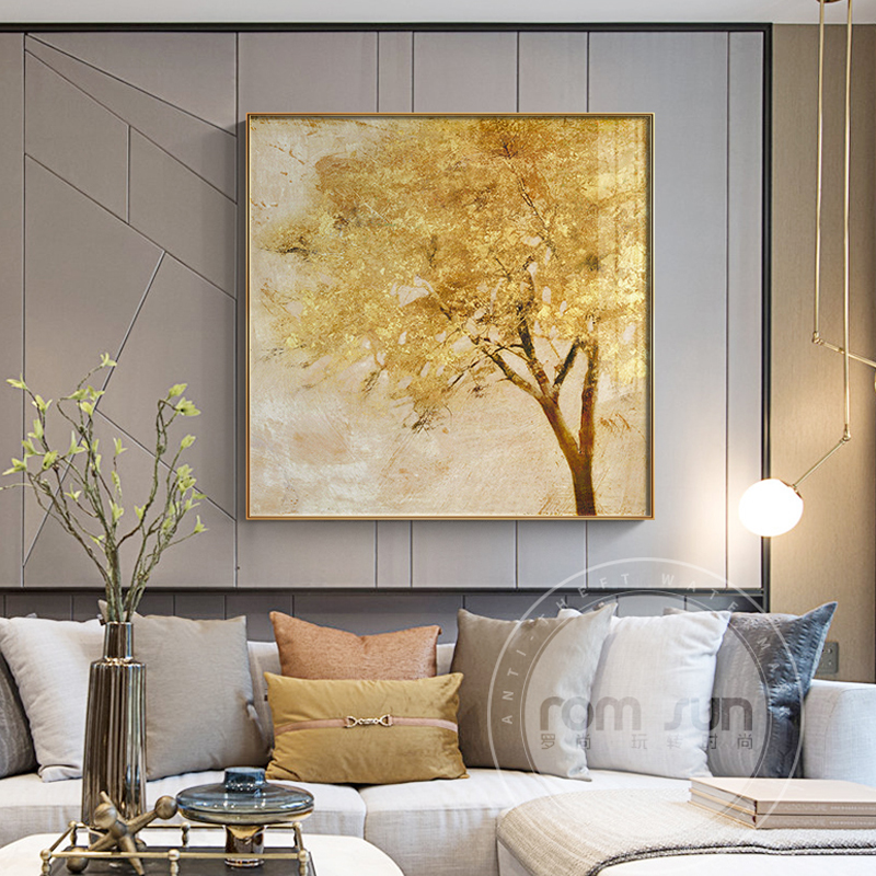 Modern Golden Forest Tree Canvas Painting Abstract Retro Poster Print Wall Art Cuadros For Living Room Aisle Unique Home Decr HD