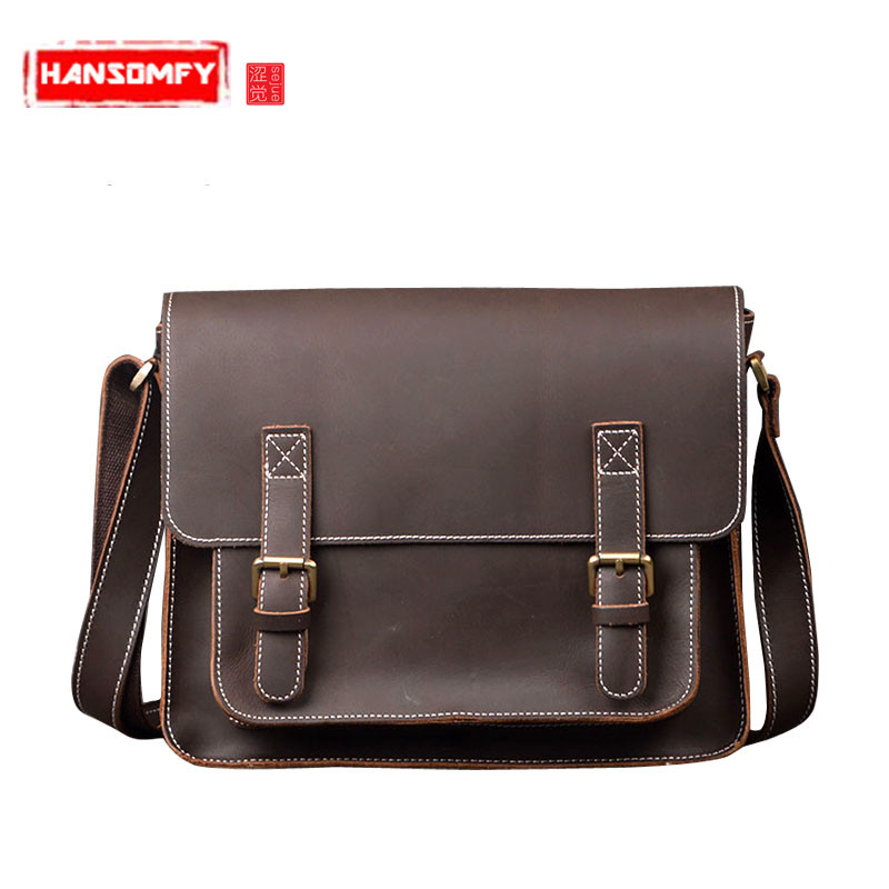 Genuine Leather skin Men bag crazy horse leather male shoulder bag head cowhide handbags personalized messenger bag briefcaseGenuine Leather skin Men bag crazy horse leather male shoulder bag head cowhide handbags personalized messenger bag briefcase