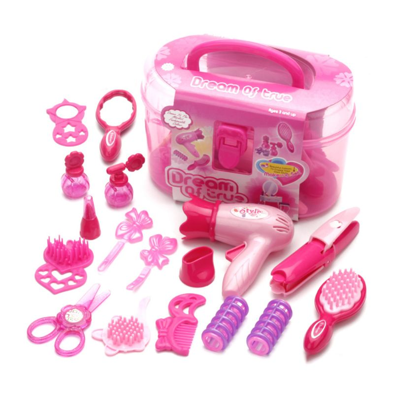 Free Shipping Children Pretend Play Kid Make Up Toys Set Hairdressing Simulation Cosmetic Girls Dressing Travel Kit