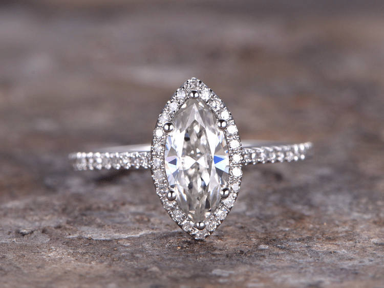 1 ct Marquise Cut CZ Engagement ring,925 sterling silver wedding band.white gold plated,ball prong Bridal ring,Art deco Halo серьги art silver art silver ar004dwzmh30