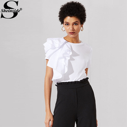 Sheinside White One Side Flounce Embellished Tee Women Round Neck Short Sleeve Casual Top 2018 Ruffle Slim Plain T-shirt