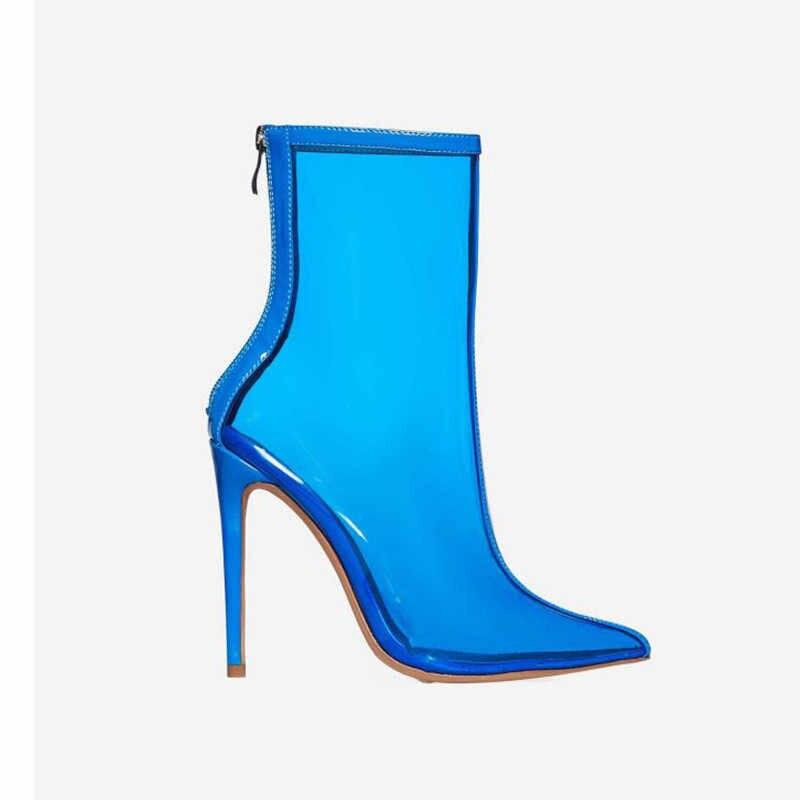 MEMUNIA 2019 venda quente tornozelo mulheres botas de pvc transparente stiletto sapatos de salto alto botas sexy moda festa de formatura feminino