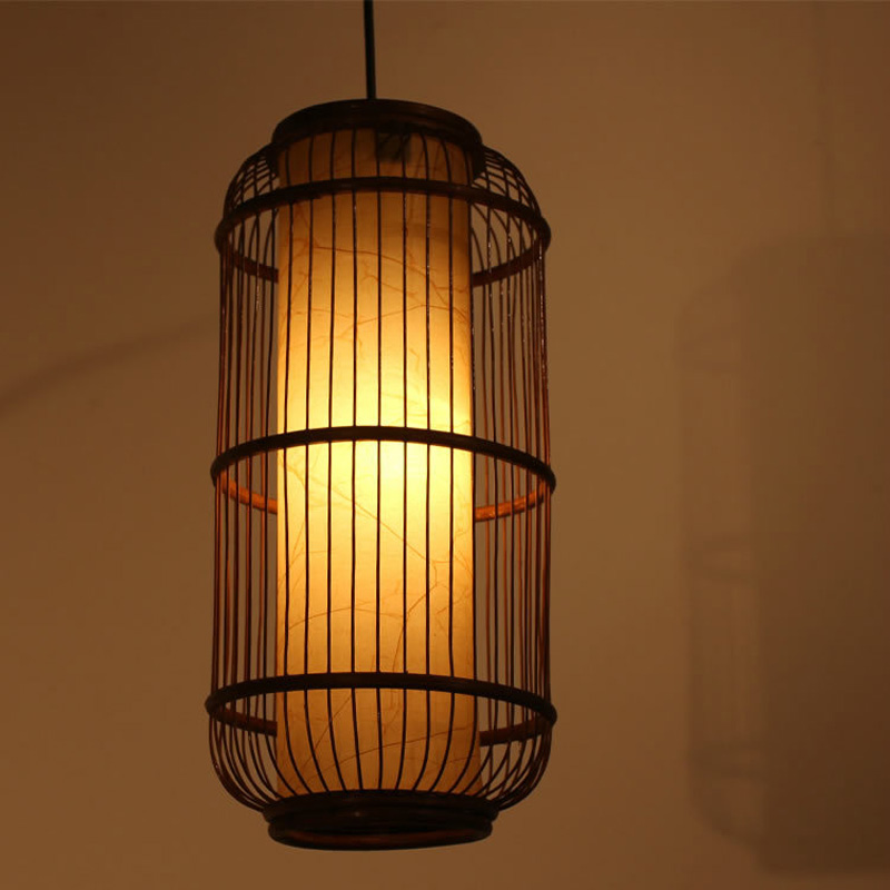Southeast Asia Cylinder Rattan Bamboo Cage Pendant Lights Stair case pendant Lamp Dining Room Corridor Hallway Hanging Fixtures bamboo rattan pendant lights southeast