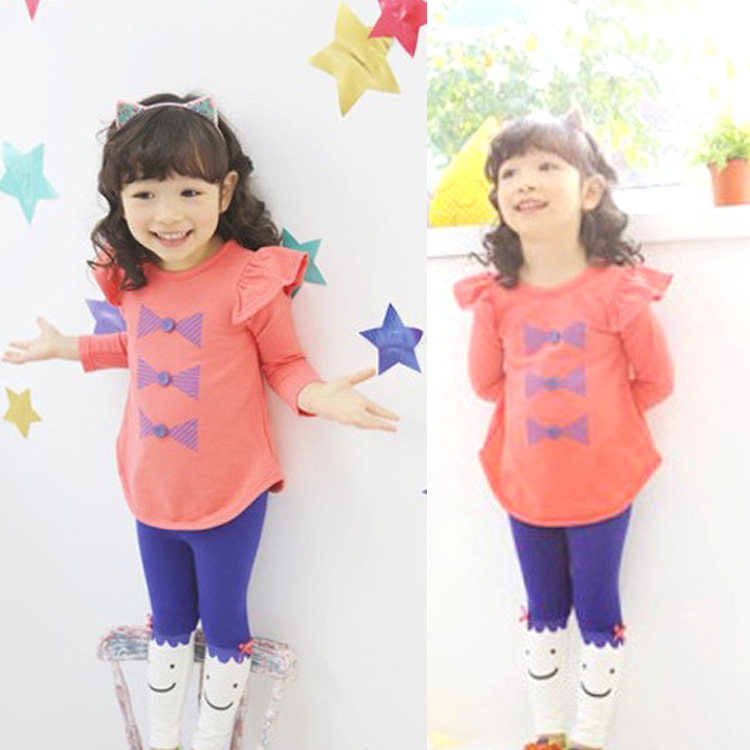 New Spring girl clothes sets nice Pure cotton Long Sleeve Cartoon Cat kids baby T shirt+pant Suit Two piece Childrens clothing