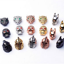 Mixed Wholesale Micro Pave Beads DIY Jewelry Making Findings Copper Charm Spartan Warrior Crown Skull Beads for Bracelet(China)