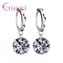 8 Colors Real 925 Sterling Silver High Quality Clear Cubic Zirconia Earrings Pendant For Women Crystal Jewelry Wholesale(China)