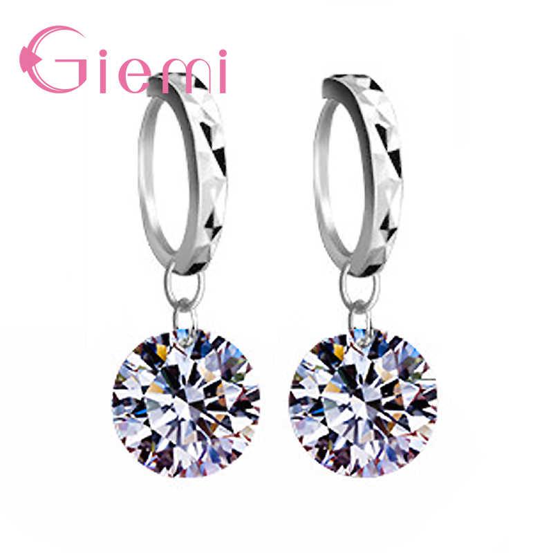 8 Warna Nyata 925 Sterling Silver Kualitas Tinggi Jelas Kubik Zirconia Anting-Anting Liontin UNTUK WANITA Perhiasan Kristal Grosir