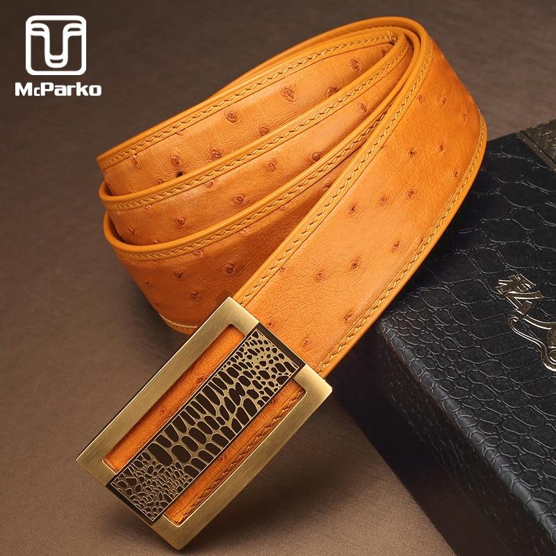 McParko Luxury Ostrich Belt Genuine Leather Men Belts Fashion Brand Automatic Waist Belt Men 2019 Blue