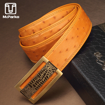 McParko Luxury Ostrich Belt Genuine Leather Men Belts Fashion Brand Automatic Waist 2019 Blue Yellow Design Strap Male - discount item  30% OFF Belts