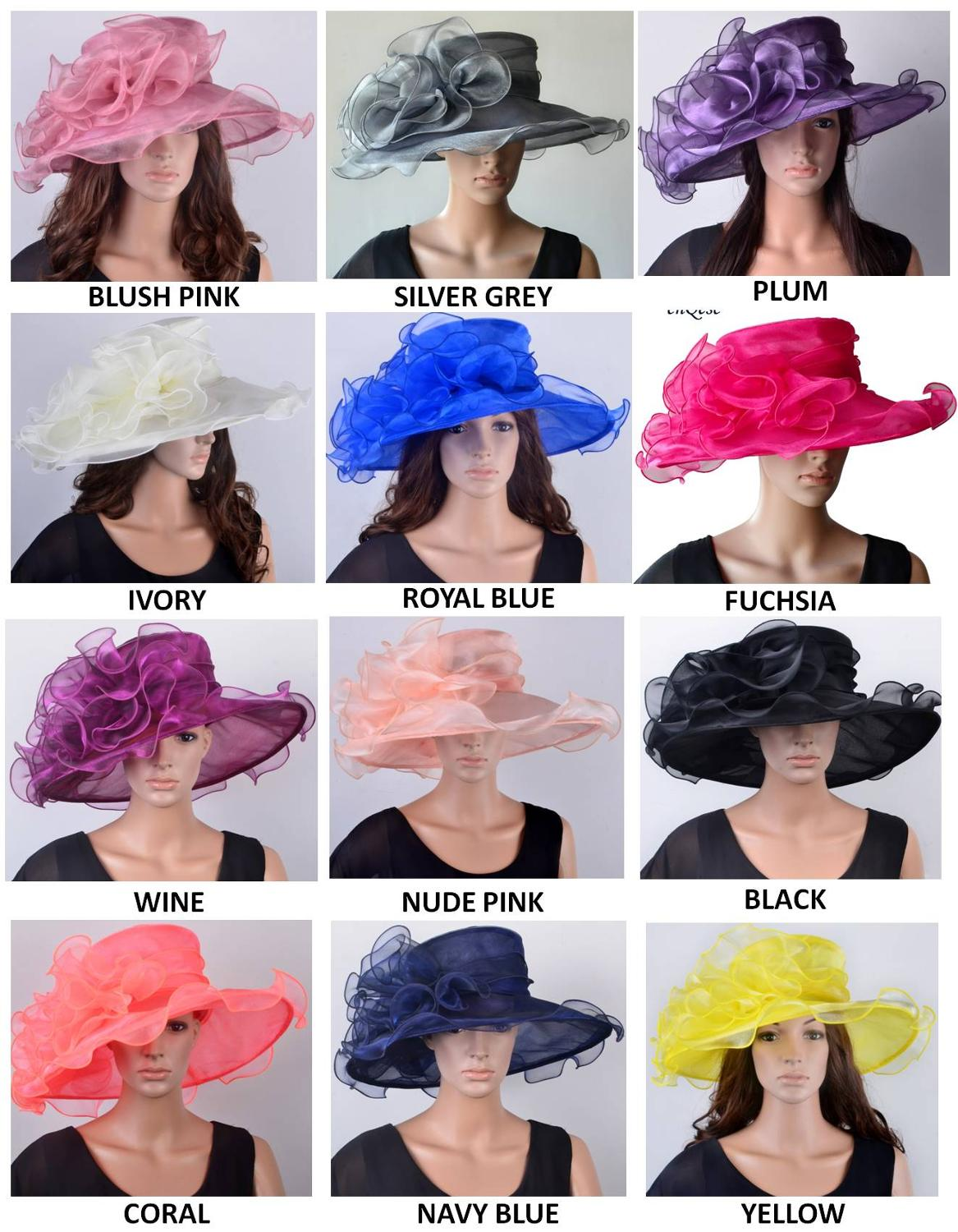 NEW COLOR Crystal Organza Hat with Large Organza Trim for Kentucy Derby Ascot Races Melbourne Cup