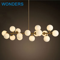 Art Led Pendant Lights With 16 Bulbs Simple DNA Hanging Lamp Glass Ball Hotel Market Clothes