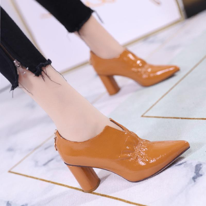 Pointed fashion single boots fashion pleated thick heels 2019 autumn new back zipperPointed fashion single boots fashion pleated thick heels 2019 autumn new back zipper