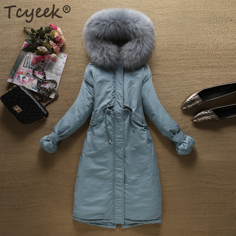 Tcyeek Winter Female Jacket+large Fur Hooded 90% Duck Down Jacket Women Clothes 2019 Korean Warm Long Coat Ladies Coats 85110240