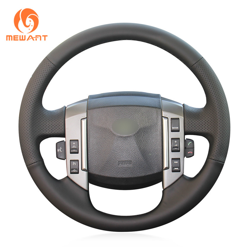 MEWANT Black Artificial Leather Car Steering Wheel Cover for Land Rover Old Range Rover Sport 2005-2008 aluminum alloy black steering wheel paddle shift extension for land rover range rover sport 2011 15