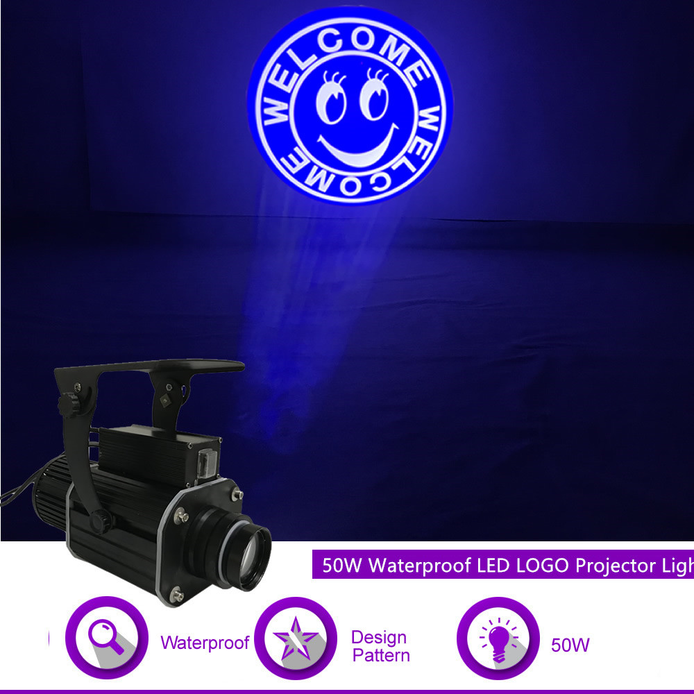 Sharelife Custom LOGO Gobo 50W Waterproof LED Projector Light For Show Bar Store Advertising Wedding DJ Stage Effect Lighting