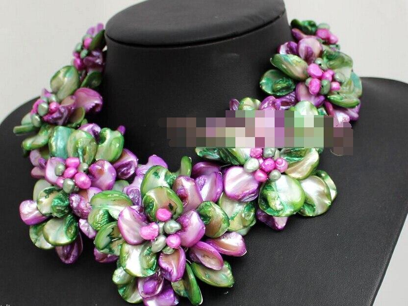 LIVRAISON GRATUITE>>> 0563 Collier naturel Coloré shell perle fleur collier ras du cou