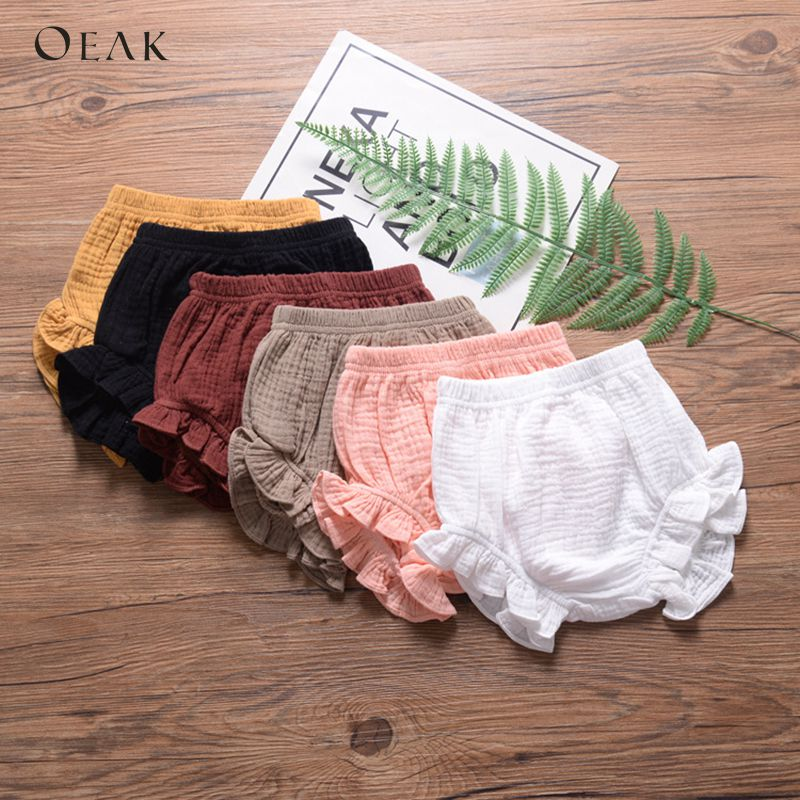 Oeak Summer New Baby Fashion Casual Large PP   Shorts   Infant Solid Cotton Bloomers Toddler Girls Bread Pants Playsuit Clothing