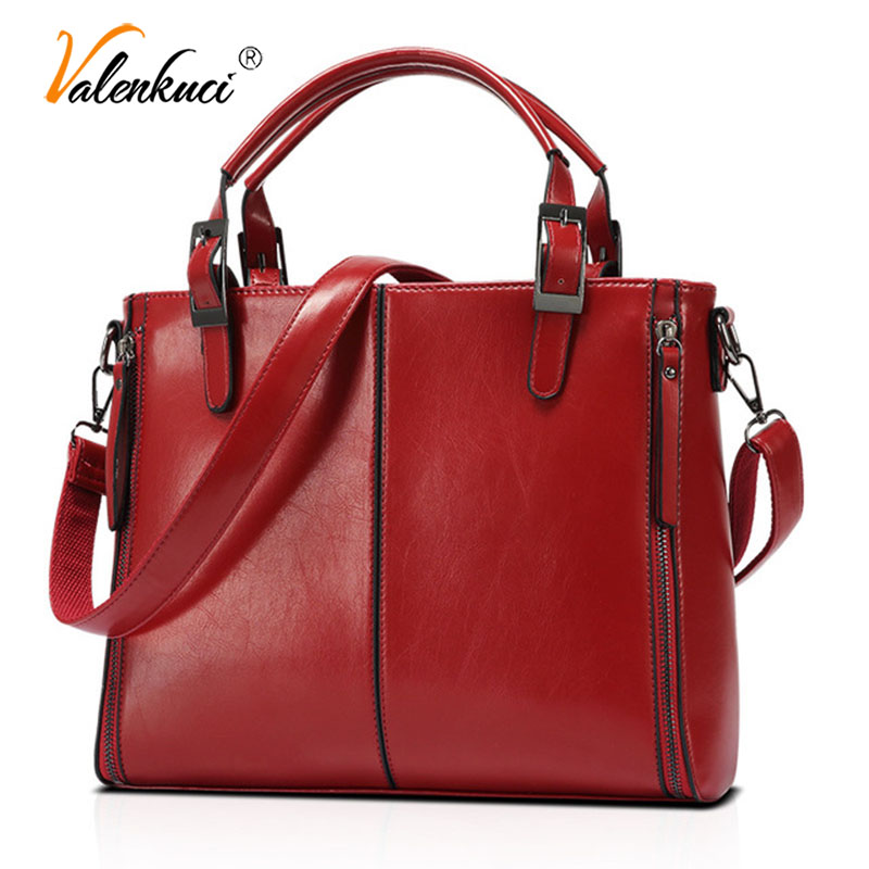 ValenKuci Big Oil Wax Leather Bag Fashion Brand Women Bags Desginer Splicing Leather Handbags Tote Shoulder Bags for Women|Shoulder Bags| - AliExpress