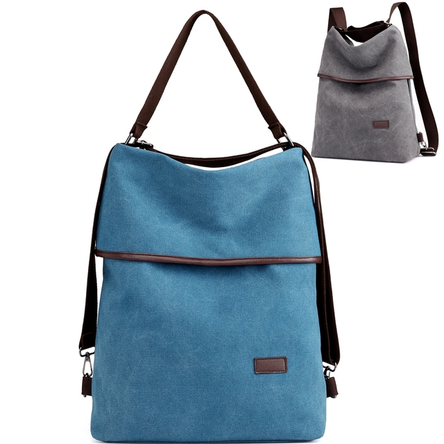 Convertible Canvas Backpack Shoulder Bag Women Laptop Backpack Purse Casual  Large Capacity Lightweight Vintage Fabric Female 6ac340386e463