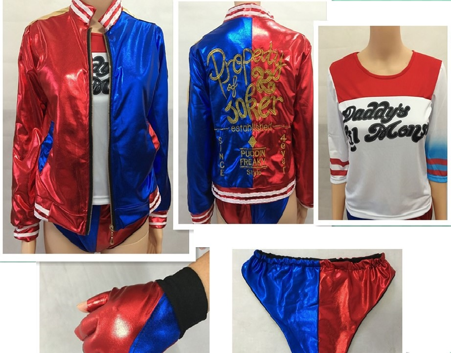 CaGiPlay movie Suicide Squad Harley Quinn female clown cosplay costume clothing halloween anime coat jacket one set uniform