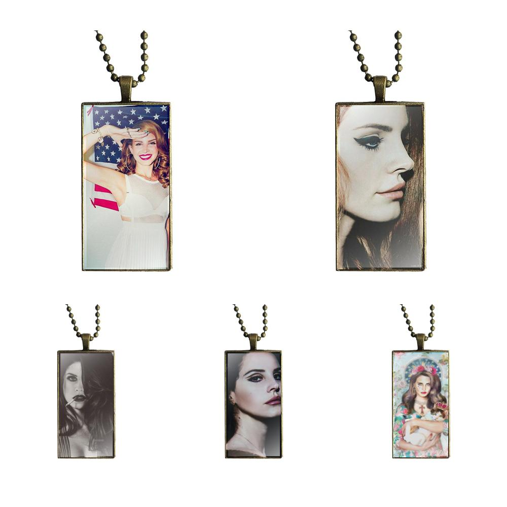For Women Choker Pop Lana Del Rey Vintage Jewelry Bronze Plated With Glass Cabochon Choker Long Pendant Rectangle Necklace