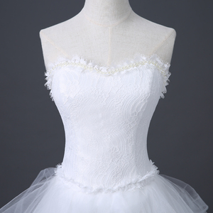 Image 2 - 2020 Top Selling Front Short Long Back Wedding Dress Cheap Chinese Lace Wedding Gown Sweet Bride Dress With Tail Under 100 D83