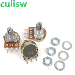 1PCS WH148 3pin B1K B2K B5K B10K B20K B50K B100K B250K B500K B1M Linear Potentiometer 15mm Shaft With Nuts And Washers
