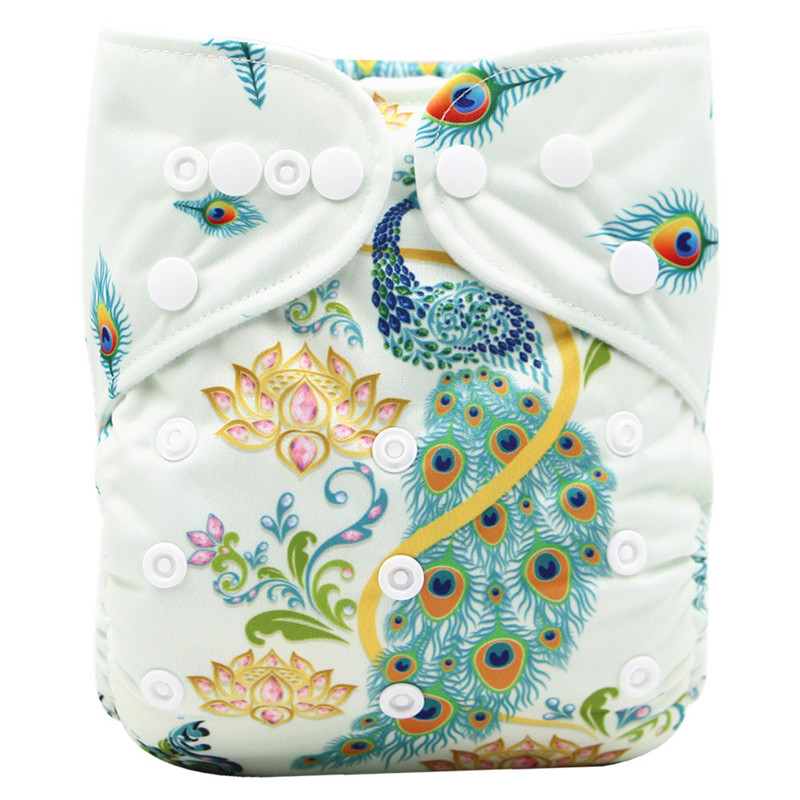 [Cute Green]Baby Pocket Cloth Diapers Position Digital Print PUL Reusable Baby Nappies Washable Nappy Pant Infant Cloth Diaper