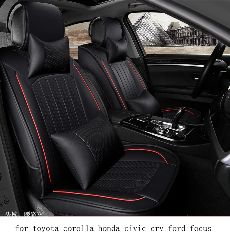 for toyota corolla honda civic crv ford focus hole ventilate wear resistance leather Front&Rear full car seat covers four season front rear universal car seat covers for honda civic accord fit element freed life zest car accessories car styling