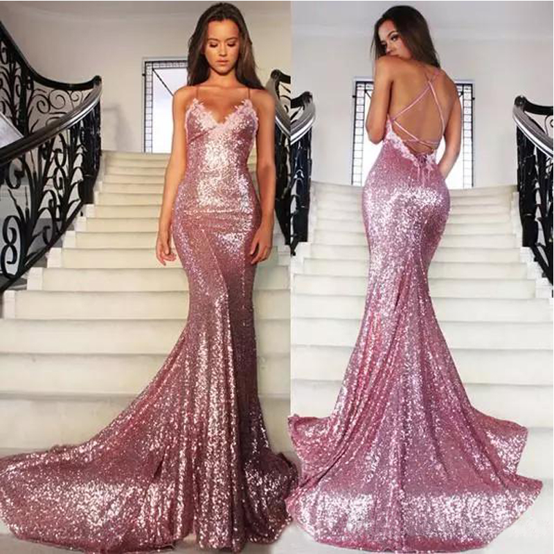 Rose Pink Glitz Sequined Mermaid Prom Gowns Spaghetti Strap Sexy Backless Dress Sweep Train Formal Party
